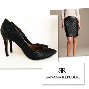 BANANA REPUBLIC QUILTED LEATHER HEELS SZ 8.5